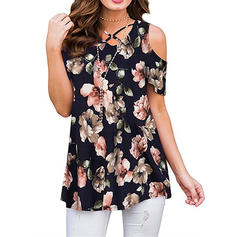 Floral Cold Shoulder Short Sleeves Casual Elegant Blouses