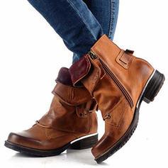 Frauen PU Flascher Absatz Flache Schuhe Geschlossene Zehe Stiefel Stiefel-Wadenlang mit Schnalle Schuhe