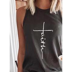 Hahmo Printti pyöreä kaula-aukko Hihaton T-paidat