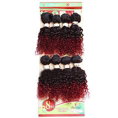 Curly Synthetic Hair Human Hair Weave 8pcs