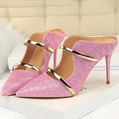 Women's Fabric Stiletto Heel Pumps Slippers With Sequin shoes