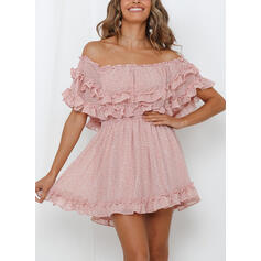 Print Short Sleeves A-line Above Knee Casual/Vacation Dresses