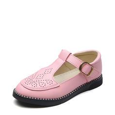 A menina de imitação de couro Heel plana Fechados Sem salto Sapatas do florista com Velcro Oca-out