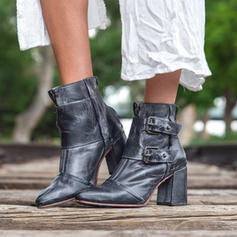 Frauen PU Stöckel Absatz Stämmiger Absatz Stiefelette mit Schnalle Reißverschluss Schuhe
