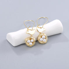 Lovely Copper With Imitation Pearl Women's Earrings