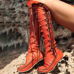 Női Műbőr Lapos sarok Térdig érő csizmák -Val Lace-up cipő