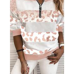 Leopard pailletter V-hals Lange ærmer Sweatshirts