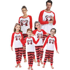 Reindeer Color-block Letter Print Family Matching Christmas Pajamas