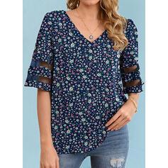 Blomstrete Trykk V-hals 1/2-ermer T-skjorter