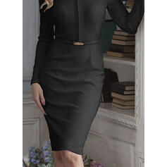 Lace/Solid Long Sleeves Bodycon Knee Length Little Black/Party Pencil Dresses