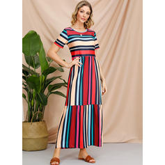 Striped Short Sleeves A-line Maxi Casual Dresses