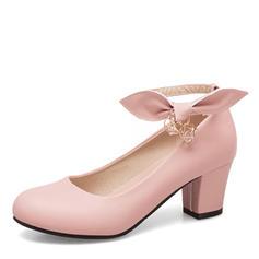 Femmes Similicuir Talon bottier Escarpins Bout fermé Mary Jane avec Bowknot Chaîne chaussures
