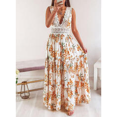 Lace/Print/Floral Sleeveless A-line Skater Sexy/Party Maxi Dresses