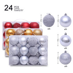 "Merry Christmas 2.75"" 24 PCS PVC Christmas Décor Ball (Set of 24)"
