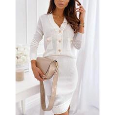 Egyszínű Hosszú ujjú Testre simuló ruhák Térd feletti Elegáns Sweter φορέματα