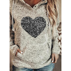 Sequins Heart Pockets Long Sleeves Hoodie