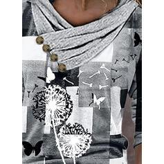 Trozos de color Diente de león Impresión butterfly Cuello en V Manga Larga Camisetas