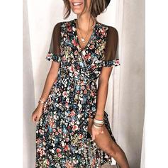 Imprimeu/Floral Mâneci Scurte Tip A-line Wrap/Patenci Casual Maxi Elbiseler