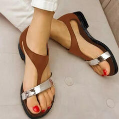 Leatherette Low Heel Sandals shoes