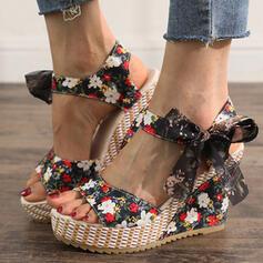 De mujer Tela Tipo de tacón Sandalias Cuñas Encaje Tacones con Bowknot Cordones zapatos