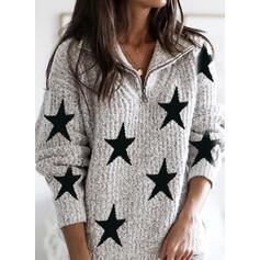 Print Lapel Casual Sweaters
