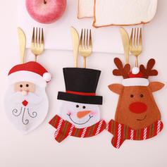 Merry Christmas Snowman Reindeer Santa Non-Woven Fabric Tableware Cover
