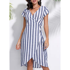 Striped Short Sleeves A-line Asymmetrical Casual/Elegant Wrap Dresses