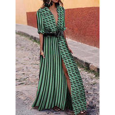 Print/PolkaDot/Striped 1/2 Sleeves A-line Shirt/Skater Casual/Vacation Maxi Dresses