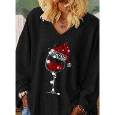 Sequins V-Neck Long Sleeves Christmas T-shirts