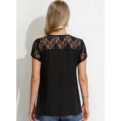 Solid Lace V Neck Short Sleeves Casual Blouses