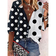 PolkaDot V-Neck 3/4 Sleeves Button Up Casual Shirt Blouses