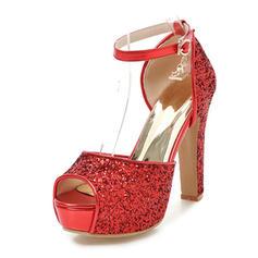 Női Csillám Chunky sarok Szandál Magassarkú Emelvény Peep Toe -Val Csat cipő