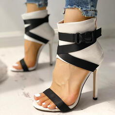 Women's PU Stiletto Heel Sandals Peep Toe With Buckle Zipper shoes