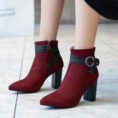 Vrouwen Suede Chunky Heel Pumps Laarzen met Gesp Rits schoenen