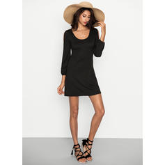 Solid Cold Shoulder Sleeve Shift Above Knee Little Black/Casual/Vacation Dresses