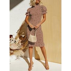 Nadrukowana Krótkie rękawy/Bufiaste rękawy Bodycon Długośc do kolan Elegancki Ołówkowa Sukienki