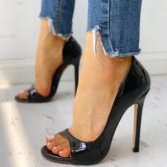 Mulheres PU Salto agulha Bombas Peep toe Sapatos abertos sapatos