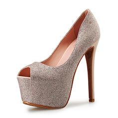Frauen Funkelnde Glitzer Stöckel Absatz Absatzschuhe Plateauschuh Peep Toe Schuhe