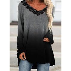Gradient Blonder V-hals Lange ermer T-skjorter