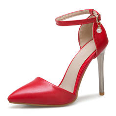 Women's PU Stiletto Heel Sandals Pumps Closed Toe With Buckle shoes