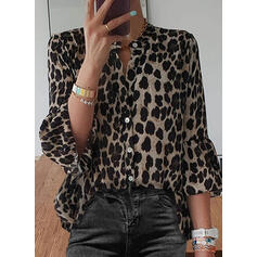 Leopard Stand collar Long Sleeves Button Up Casual Shirt Blouses