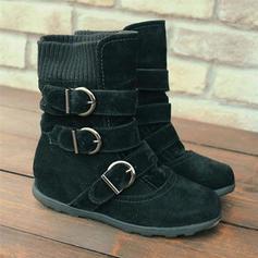 Kvinner PU Flat Hæl Flate sko Støvler Mid Leggen Støvler med Spenne sko