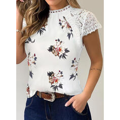 Print Floral Lace Round Neck Short Sleeves Casual Blouses