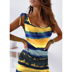 Tie Dye Sleeveless Bodycon Above Knee Casual/Vacation Tank Dresses