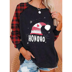 Print Grid Figure Heart Round Neck Long Sleeves Christmas Sweatshirt
