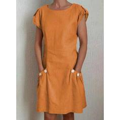 Pevný Zkrácený Rukáv Splývavé Délka ke kolenům Neformální Šaty