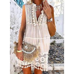 Solid Color V-Neck Plus Size Boho Cover-ups Swimsuits