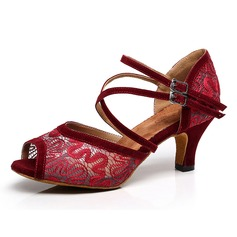 Women's Latin Heels Sandals Lace With Hollow-out Latin