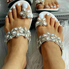 Women's PU Flat Heel Sandals Peep Toe With Rhinestone shoes