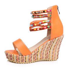 Femmes Similicuir Talon compensé Sandales Compensée avec Strass chaussures